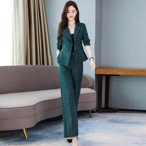 Frauen 2020 Frühling und Herbst Elegante Zweiteilige Sets Outfits weibliche dünne Kurzmantel und Wide Leg-lange Hosen-Anzüge Büro Sets T385