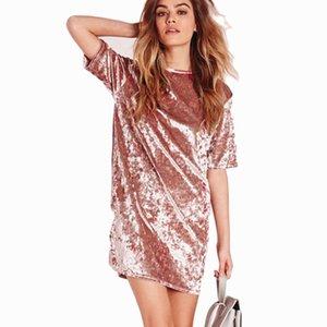 Women Elegant Dress Spring Summer Round Neck Short Sleeve Crushed Velvet Party Dresses