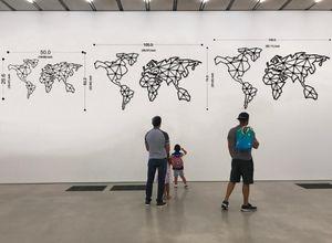 Linewallart Metal World Map Wall Art Decor Portrait