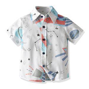 Summer Shirt Boy Short Sleeve Cartoon Shirt Kid Boy T-shirt Cardigan Students Boy Spaceship Printing Shirt for Kid 2-7Y M200432