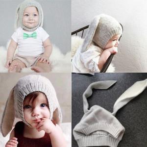 Kış Bebek Bebek Çocuk Kız Erkek Örgü Tavşan Tığ Kulak Yün Sıcak Örme Beanie Hat kalın