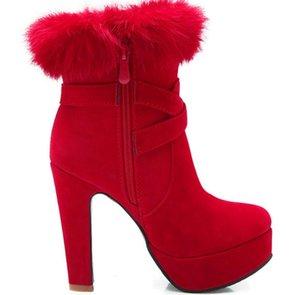 2019 Women's boots in winter with New style High heel Coarse heel round head waterproof table Suede@B057
