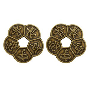 2x Simulation Ancient Bronze Chinese Old Copper Coin Traditional Charms