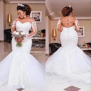 Rebordear la sirena de la boda vestidos largos de manga Apliques Perlas africana vestidos de novia de la boda de lujo del tamaño extra grande de novia Vestido de Noiva BC3027