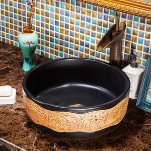 Tezgah seramik banyo lavaboları lavabo Çin porselen yuvarlak lavabo yıkama
