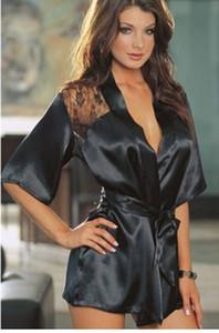 Abito da sposa corto elegante Donne Sexy Lace raso della biancheria abito sexy abito di seta intima del kimono accappatoio da damigella d'onore da notte