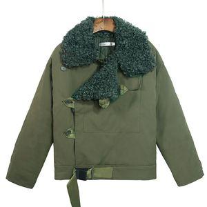 2019 YENI Kadın Ordu Yeşil Yapay Kürk Yaka Kalınlaşma Uzun Kollu Parkas Kapşonlu Pamuk İç Ceket Kış Palto Dış Giyim