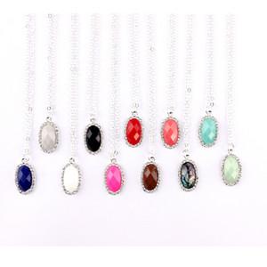 أزياء مخصصة المجوهرات الصغيرة بالجملة كندرا نمط تمهيد crytsals البيضاوي الأوجه الراتنج حجر المختنقون المعلقات سلسلة قلادة قصيرة للنساء
