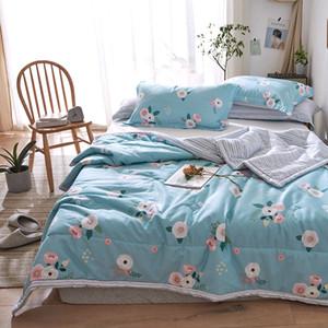 Floral bedruckte Sommer Bettwäsche Tröster Sets Baumwolle Quilt Kissenbezug 2/3 PC Home Bettwäsche Mechanical Wash Bettwäsche-Sets