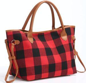 Buffalo Vérifiez Sac à main Rouge Noir Plaid Sacs fourre-tout grande capacité Leopard Voyage Sport Duffle Bag épaule Sacs à main bandoulière GGA2984