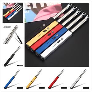 전기 라이터 USB 충전식 점화 라이터 아크 스파크 충전 스위치 야외 방풍 유연한 목 오프너 나이프 12 스타일