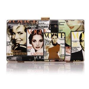 Tasarımcı-Gazete Karakter Baskılı Dergi Çanta Şık Kadınlar Debriyaj Çanta Papa Çanta Cüzdan Pop Marka Satchel Akşam Bag - Cool M1261