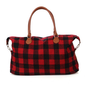 2 Colors Buffalo Check Handbag Red Black Plaid Bags Large Capacity Travel Tote with PU Handle Luggage Bag Outdoor Bags CCA11411 10pcs