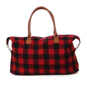 Überprüfen 2 Farben Buffalo Handtasche Rot Schwarz Plaid Beutel-große Kapazität Travel Tote mit PU-Handgriff Gepäcktasche Außentasche CCA11411 10pcs