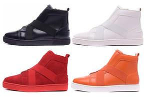 حجم 36-46 رجل وامرأة أسود جلد طبيعي مع حزام / مشبك أزياء أحمر أسفل الأحذية دراجة نارية الكاحل ، جنتلمان عالية أعلى عارضة الأحذية