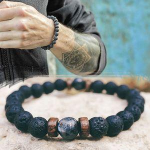 Bracelet Homme naturel Moonstone Perle tibétaine Bouddha Bracelet Chakra Pierre Lava Bracelets hommes Diffuseurs naturel volcanique Bracelets de pierre