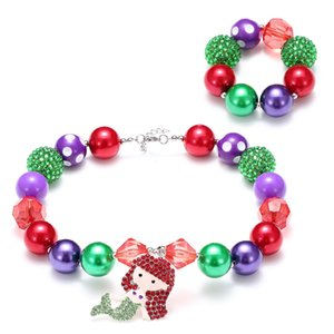 New Mermaid Pendant Kid Chunky Necklace Adjusted Rope Toddlers Girls Bubblegum Bead Chunky Necklace Bracelet set Jewelry For Children