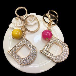 Letter D Porte Clef Long Keychain الكمالية Rhinestone Keyring Key Chains Jewlery For Women Bags Cars Key Holder 2020 New