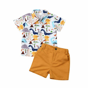 Bebê Meninos Roupas Kid Criança desgaste do partido dinossauro impressão camisa de algodão calças curtas amarelas Verão 2pcs set roupas
