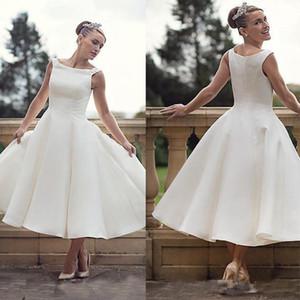 Vintage 50s Короткие свадебные платья Scoop шеи голеностопного Длина Ретро Свадебные платья 2020 Белый Платье де Noiva сшитое