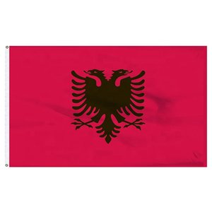 Albanian flags 3x5FT 150x90cm Polyester Printing Indoor Outdoor Hanging Hot Selling National Flag With Brass Grommets Free Shippin