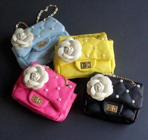 2020 latest fashion children's Bag Girl Princess bag classic Camellia pearl edge chain bag baby messenger zero wallet