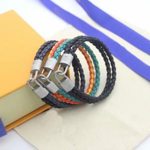 패션 브랜드 명명 된 팔찌 레이디 여성 V 편지 두 컬러 꼰 밧줄 디자인 가죽 짠 코드 팔찌 팔찌