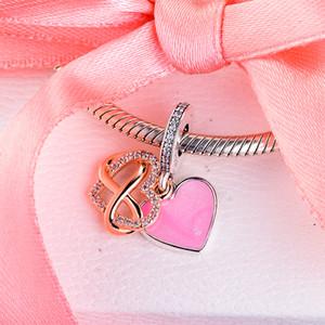 Espumoso Infinity corazón cuelga Charm 788878C01 2020 día de la madre Nueva Colección 925 del encanto del corazón de plata de ley caben las pulseras collares bricolaje