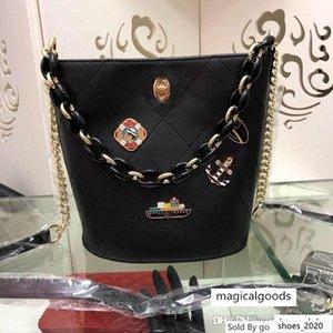 New good 019CC Quilted Black Caviar Lambskin Handbag Tassel Chain Strap Oval Round Flap 6672A Size:17.5*19.5*11.5cm