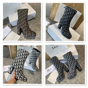 Dior Pumps marca di lusso di moda gli stivali delle donne di moda LAUREATE Desert Boot 2020 di spessore con gli stivali Martin stampati scarpe di cuoio signore invernali