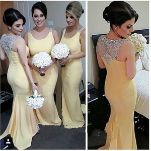 2020 Sparkly Crystal Hollow Back Mermaid Bridesmaid Dresses Cheap Long Jewel Neck Sequins Chiffon Wedding Guest Party Prom Evening Dress