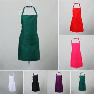 Фартук шеф-повара Моющийся полиэстер с двумя карманами унисекс кухонный фартук для официантов черный / белый / розовый / оранжево-красный / фиолетовый / зеленый