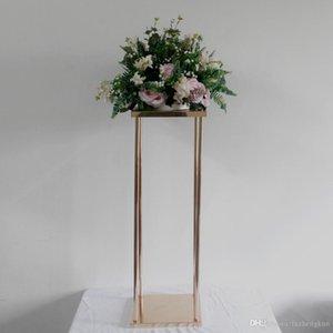 "32 "" Flower Vase Gold Column Stand Metal Road Lead Wedding Centerpiece Flower Rack For Event Party Decoration 10 PCS LOT"