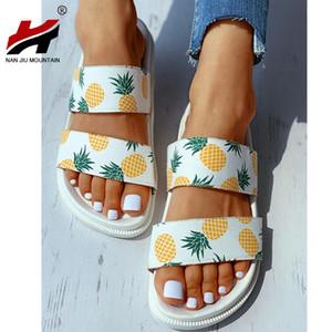 NAN JIU MOUNTAIN 2020 Women's Shoes Summer Flat Slippers Open Toe Pineapple Sandals Outdoor Beach Shoes Plus Size 40