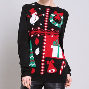 Fashion-Christmas Day Womens Designer Sweaters Fashion Loose Christmas Print Womens Ugly Christmas Sweaters Casual Females Clothing