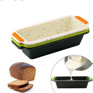 Rechteckige Silikon-Brot-Wannen-Form Toast Brot-Form-Kuchen-Behälter Lange-Platz-Kuchen-Form Bakeware Antihaft-Backen-Werkzeuge