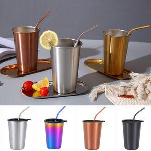 Paslanmaz Çelik Mug Kupası 500ML Kahve Bira Kupası ile Metal Straw + Kapaklar Setleri Açık Seyahat Bar İçme Suyu Çay Kupası XD21101