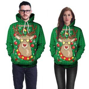 Para mujer para hombre de Navidad ciervos sudaderas con capucha verde 3D Print Sweat Homme suelta con capucha sudadera con capucha Hip Hop Tops tamaño asiático