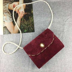 Luxy Mond Velvet Flap Bag Frauen-Handtasche mit Perlen-Ketten-schwarze elegante Schultertasche Hochzeits-Kupplungs-Partei-Handtasche ZD1468