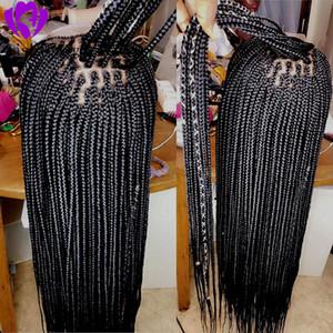 Bebek Saç Black Box Örgü Doğal Ücretsiz Ayrılık Peruk Siyah kadınlar Sentetik Dantel Açık Peruk için 28 inç Örgülü Peruk