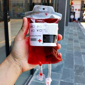 Cancella Food Grade PVC materiale riutilizzabile Sangue Energy Drink Bag Halloween Pouch puntelli vuoti 350ml Vampire bevande Borse di trasporto