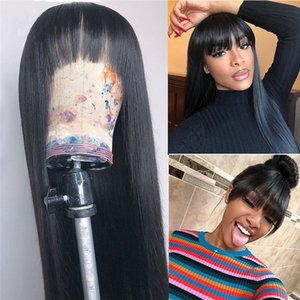 Heat Resistant Fiber Synthetic Lace Front Wig for Black Women Black Color Silk Straight Lace Front Wigs with Bangs
