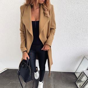 Longo casaco de lã Blends Mulheres lapela gola larga Abra Frente Cardigan Jacket Escritório revestimento morno Womens Ladies Overcoat Manteau Femme