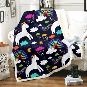 Unicorn Rainbow Horse Blanket 3D Print Sherpa Blanket on Bed Kids Girl Flower Home Textiles Dreamlike Style 09