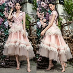 2020 Pink Feather Prom Dresses V Neck 3D Flower Appliqued Beaded Celebrity Party Gowns Tea Length Costume Formal Evening Dress