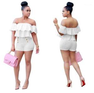 Наборы Solid Color Sexy Ladies Одежда плиссированные рябить рукава женщин 2PCS наборы лето высокой талии шорты Womens Casual