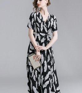 V-neck Feather impressão mulheres negras vestido longo verão slim fit manga curta vestidos casuais Tornozelo-comprimento A-line saias