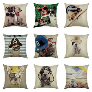 Karikatür Köpek Kare Yastık 45 x 45 cm Pamuk Keten Yastık Yatak Kanepe Araç Bel Yastık Kapak pillowslip Ev Dekorasyonu XD22869 atın Kapaklar