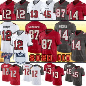 Tampa Bay 12 Tom Brady Rob Gronkowski Mahomes Buccaneer Jeresey 2020 Novo 13 Mike Evans 14 Chris Godwin Devin White Football Jerseys