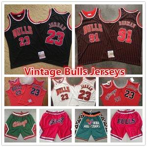 23 Michael MJ Red Mens Throwback Authentische Vintage ChicagoBulls33 Jersey Scottie Pippen Shorts 91 Dennis Rodman Basketball-Trikots